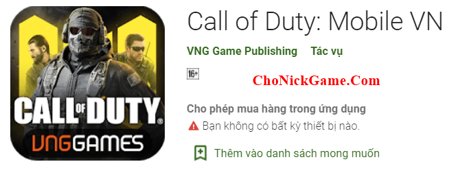 Cho Nick Call Of Duty Mobile VNG