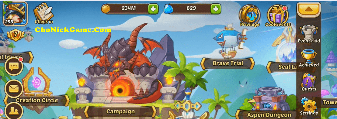 share acc Idle Heroes