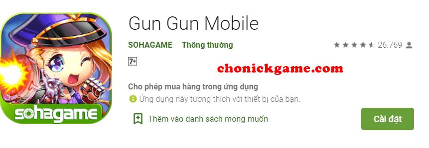 Cho nick Gun Gun Mobile