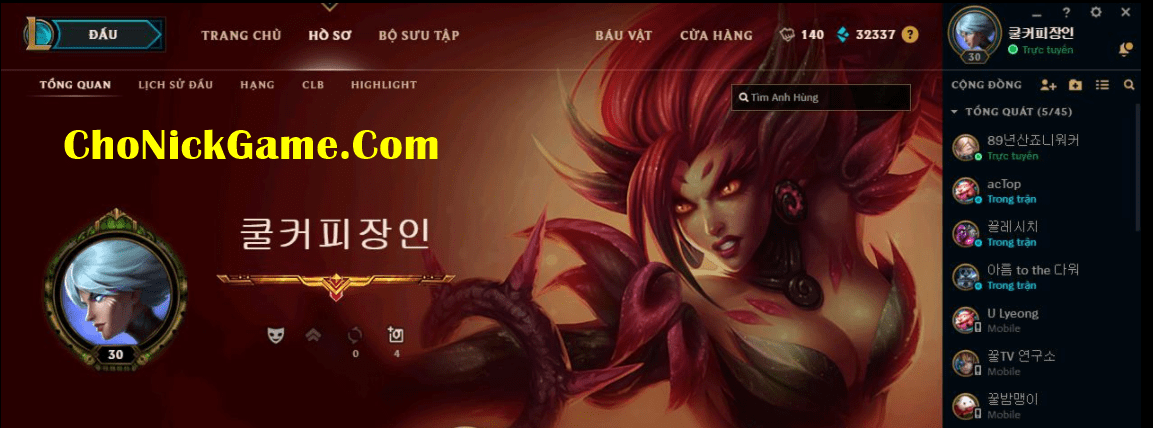 Share acc LOL Hàn Free 2021